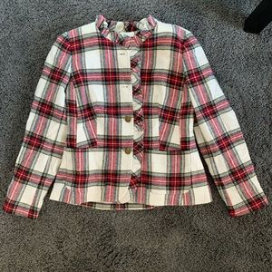 Talbots Plaid White and Red Wool Jacket M